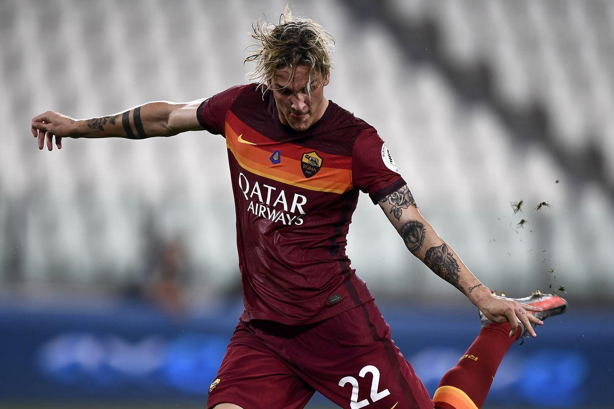 Nicolo Zaniolo of AS Roma kicks the ball during the Serie A...