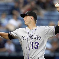Colorado Rockies starting pitcher Drew Pomeranz works in the first  inning of a baseball game against the Atlanta Braves on Tuesday, Sept. 4, 2012, in Atlanta.