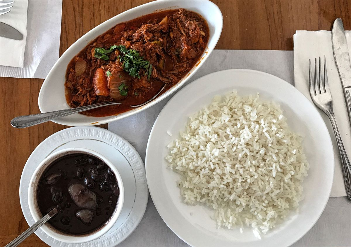 Ropa vieja with beans and rice at La Cubana