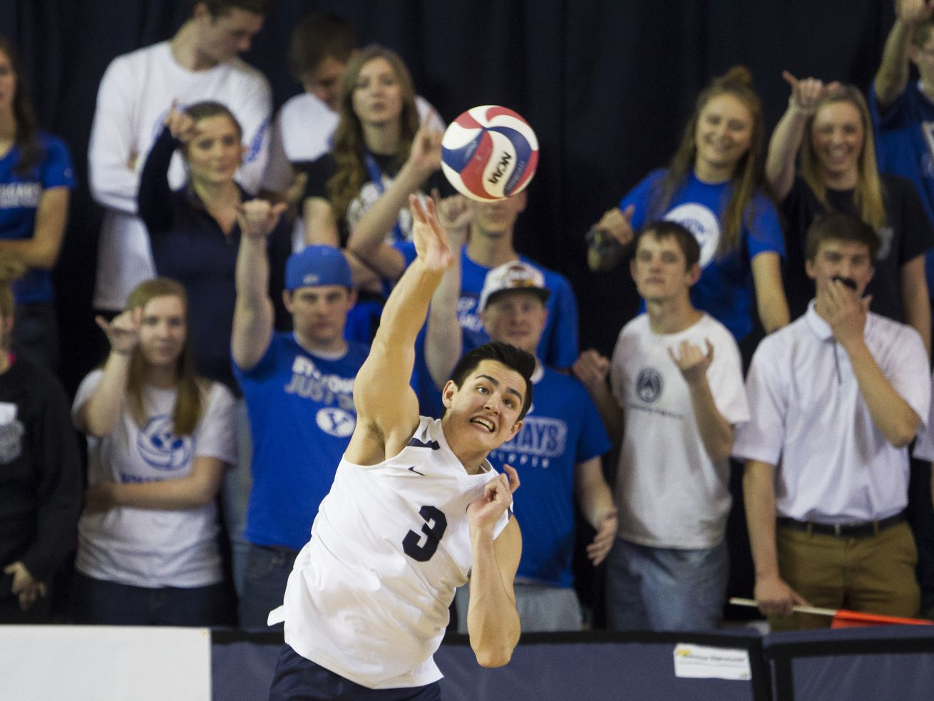 BYU's Wil Stanley serves the ball during BYU's win against USC at the Smith Fieldhouse on Thursday, April 19, 2018, in Provo.