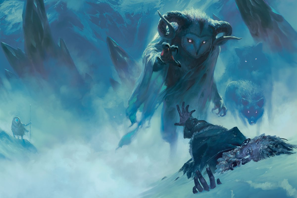 A giant monster with the head of an owl attacks a stricken traveler in Icewind Dale. A pack of wolves look on, their red eyes piercing the blue wind.