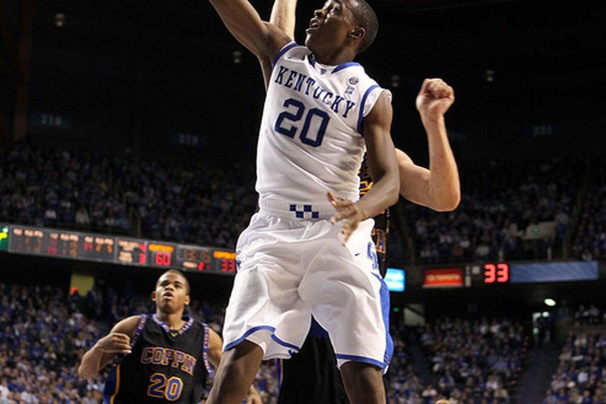 LEXINGTON KY - DECEMBER 28:  Doron Lamb #20 of the Kentucky Wildcats shoots the ball during the game against the Coppin State Eagles at Rupp Arena on December 28 2010 in Lexington Kentucky.  Kentucky won 91-61.  (Photo by Andy Lyons/Getty Images)