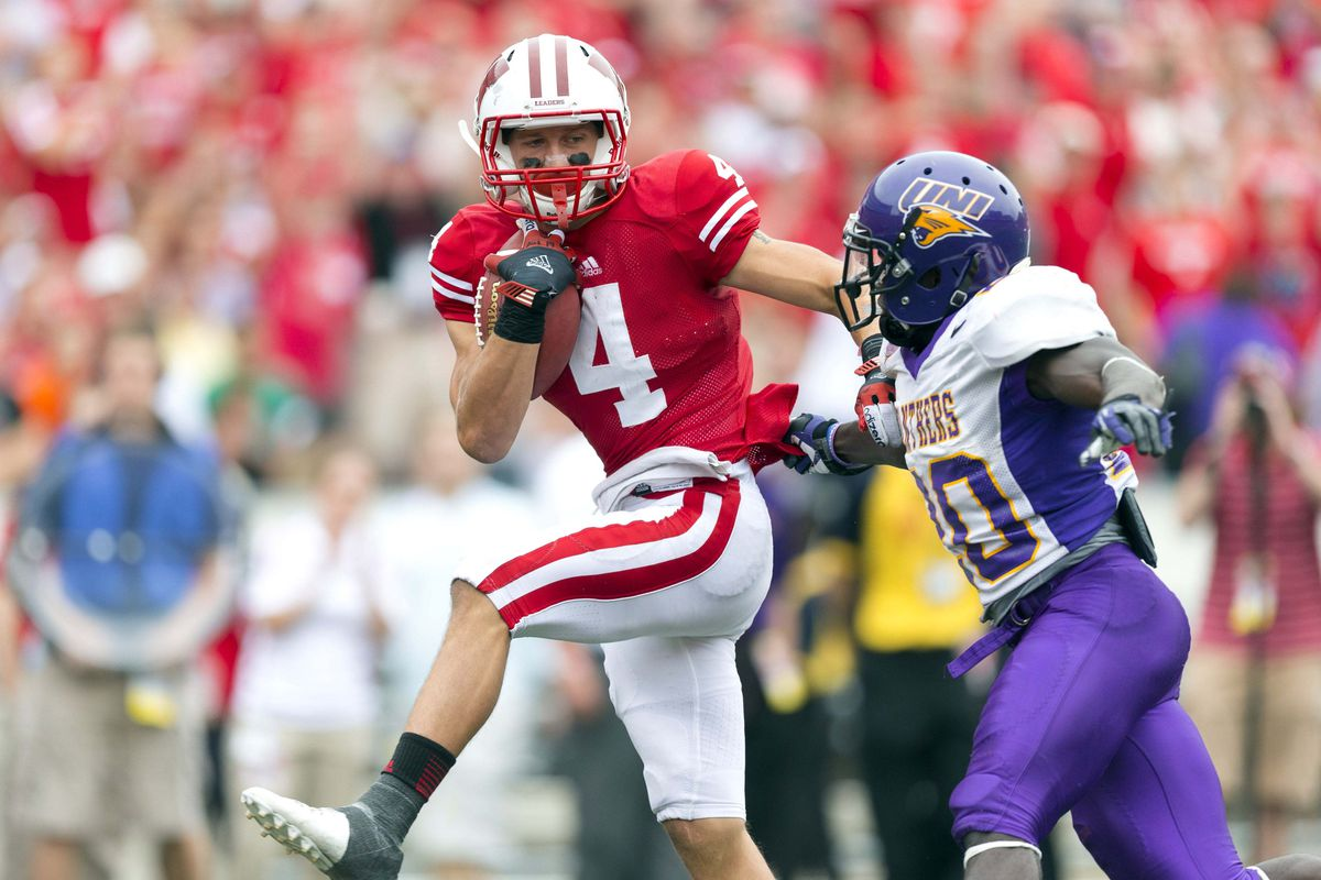 Wisconsin Badgers wide receiver Jared Abbrederis had two touchdown receptions on Saturday afternoon in a 26-21 non-conference win over Northern Iowa.