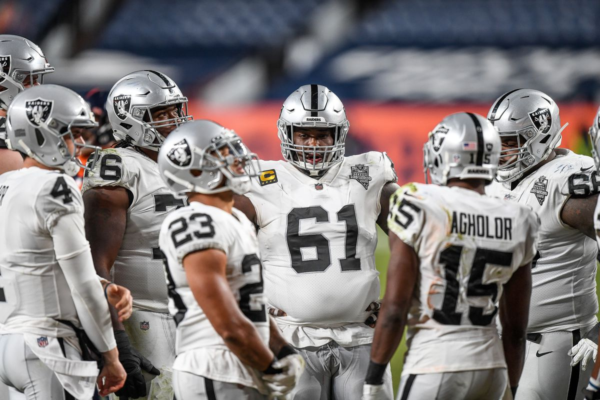 Las Vegas Raiders center Rodney Hudson (61) during a game between the Denver Broncos and the Las Vegas Raiders at Empower Field at Mile High on January 3, 2021 in Denver, Colorado.