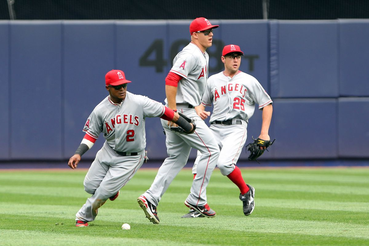 July 15, 2012; Bronx, NY, USA;  Los Angeles Angels shortstop Erick Aybar (2) misses the catch during the fifth inning against the New York Yankees at Yankee Stadium.  Mandatory Credit: Anthony Gruppuso-US PRESSWIRE