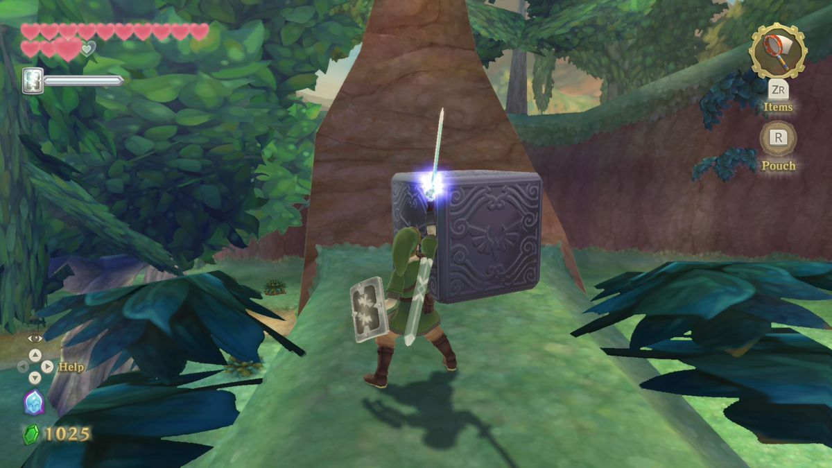 Link exploring a woodsy area in Skyward Sword HD