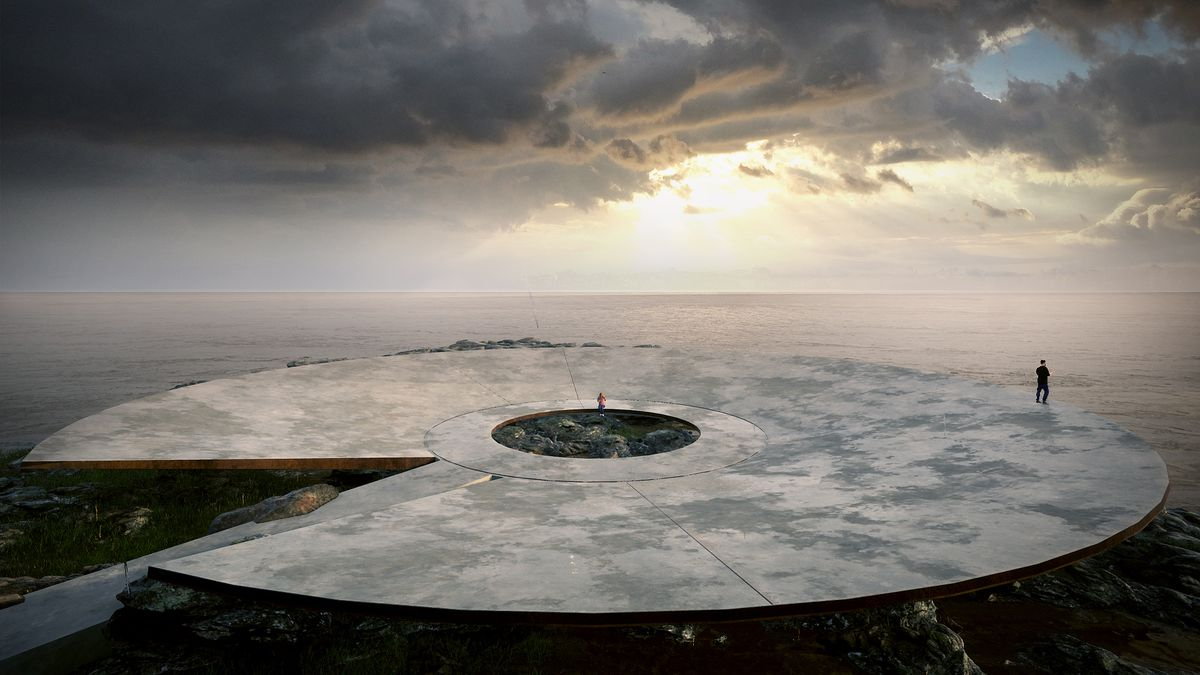 A concave concrete bowl with a hole in the middle is built out over the coast.