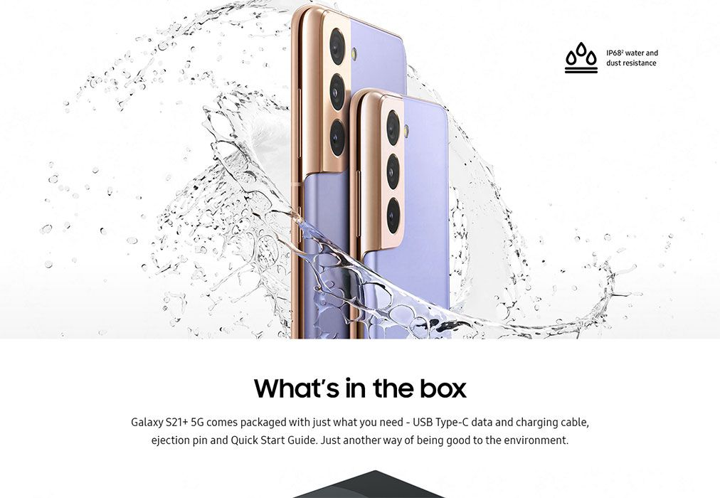 "Screenshot of the Samsung website, which includes a picture of the phone and a caption reading ""Galaxy S21+ 5G comes packaged with just what you need - USB Type-C data and charging cable, ejection pin, and Quick Start Guide. Just another way of being good to the environment."""