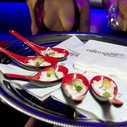 Crab salad, flanked by boobs. Yum.