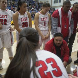Leopards players gather on the bench during East's 68-48 victory against Timpview in the Class 5A state championship game at Salt Lake Community College in Taylorsville on Saturday, Feb. 24, 2018.