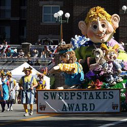 Salt Lake Wasatch Stake's float earned the Sweepstakes Award, earning the highest scores in all five elements of judging- theme, aesthetics, originality, craftsmanship and special effects,  in the Days of '47 Parade in Salt Lake City on Saturday.