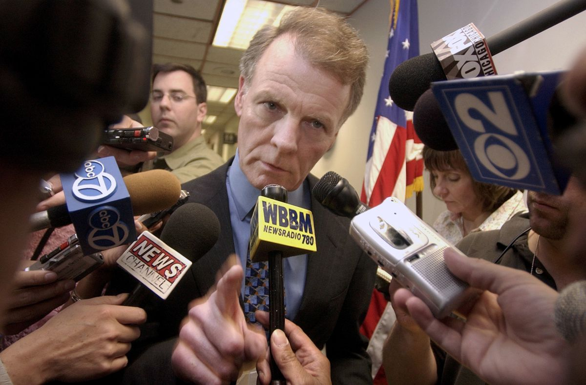 Illinois House Speaker Michael Madigan talks to reporters during a lunch break from meetings with Ill. Gov. Rod Blagojevich and Illinois' three other legislative leaders in Chicago in 2004.