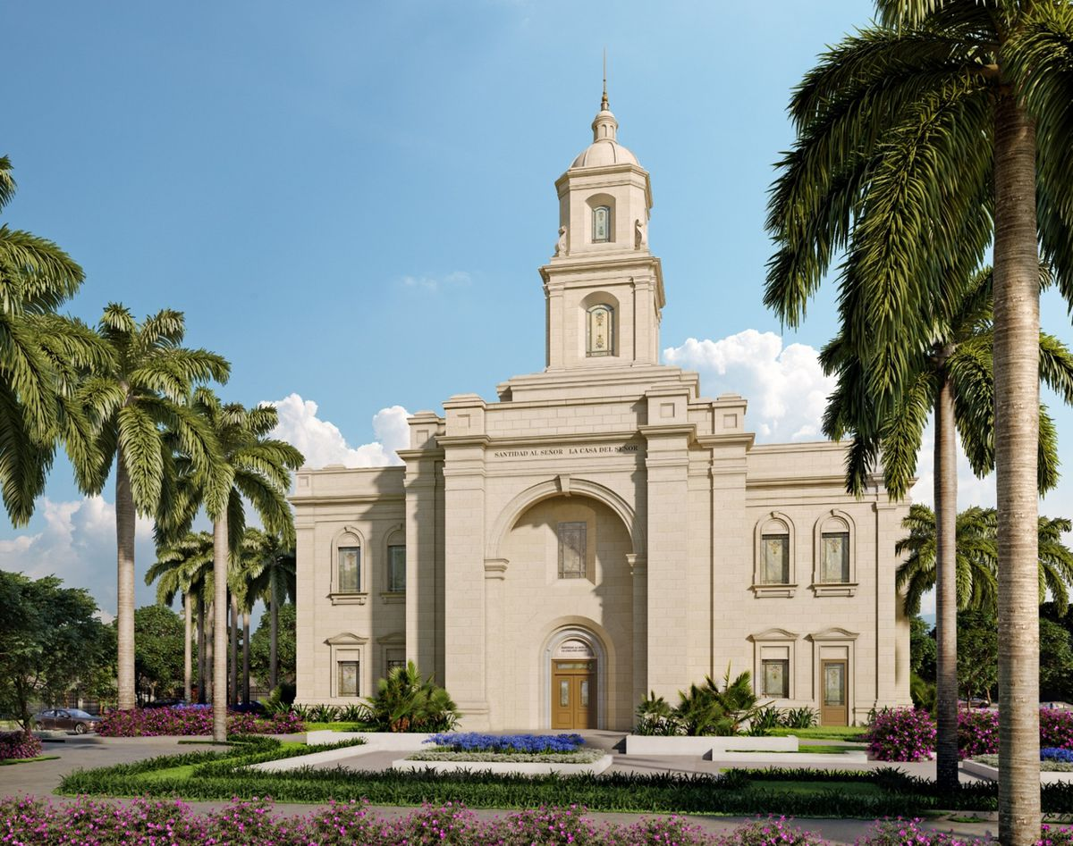 An exterior rendering of the Greater Guatemala City Guatemala Temple.