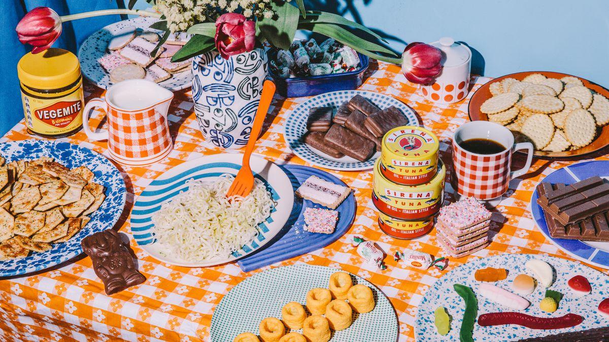 A spread of classic Australian snacks on a table