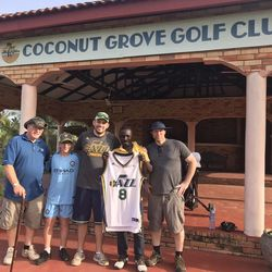 A Coconut Golf Club pro in Ghana ended up with a Deron Williams' signed jersey.