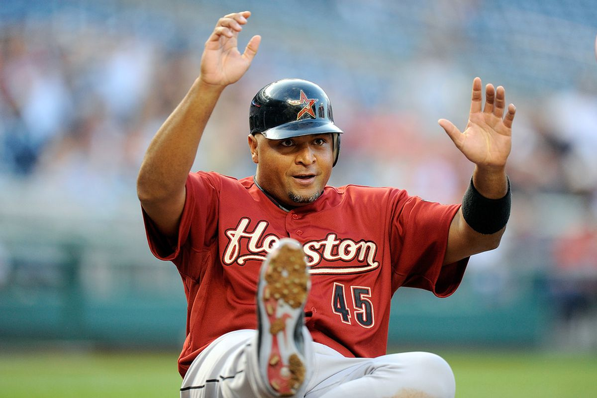 WASHINGTON, DC - APRIL 19:  Carlos Lee #45 of the Houston Astros scores in the first inning against the Washington Nationals at Nationals Park on April 19, 2012 in Washington, DC.  (Photo by Greg Fiume/Getty Images)