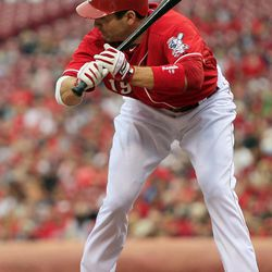 Cincinnati Reds' Joey Votto is brushed off the plate by a low pitch in the first inning of a baseball game against the Milwaukee Brewers, Thursday, Sept. 27, 2012, in Cincinnati.