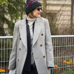 A cozy but cute look on the streets of Paris.