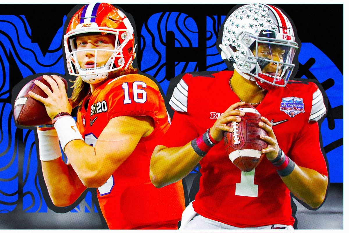 """Art of Clemson QB Trevor Lawrence and Ohio State QB Justin Fields, superimposed on a black background with """"mock draft"""" in blue squiggly letters"""