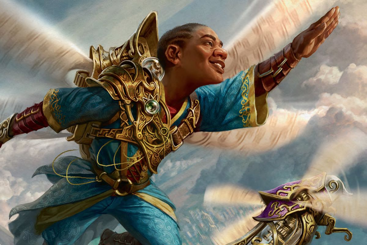 A young may flies through the clouds below fluttering, mechanical dragonfly wings. He is grinning ear-to-ear.