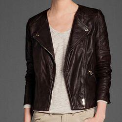 "<b>Massimo Dutti</b> Quilted Brown Leather Collarless Jacket, <a href=""http://www.massimodutti.com/webapp/wcs/stores/servlet/product/duttius/en/30109527/749020/2644854/QUILTED%2BBROWN%2BLEATHER%2BCOLLARLESS%2BJACKET"">$375</a>"