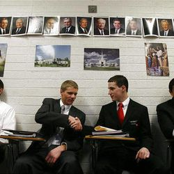 Elder Thomas Wilding shakes hands as he is introduced to his new companion, Elder Ian Donnelly, on their first day at the Provo Missionary Training Center of The Church of Jesus Christ of Latter-day Saints in Provo, Utah, Wednesday, Feb. 2, 2011. At left is Elder Brett Saavedra. At right is Elder Siosifa Lauese.