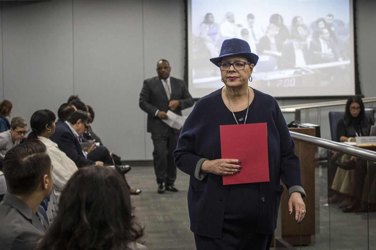 Chicago Teachers Union President Karen Lewis after speaking before the Chicago Board of Education during a budget hearing in 2017.