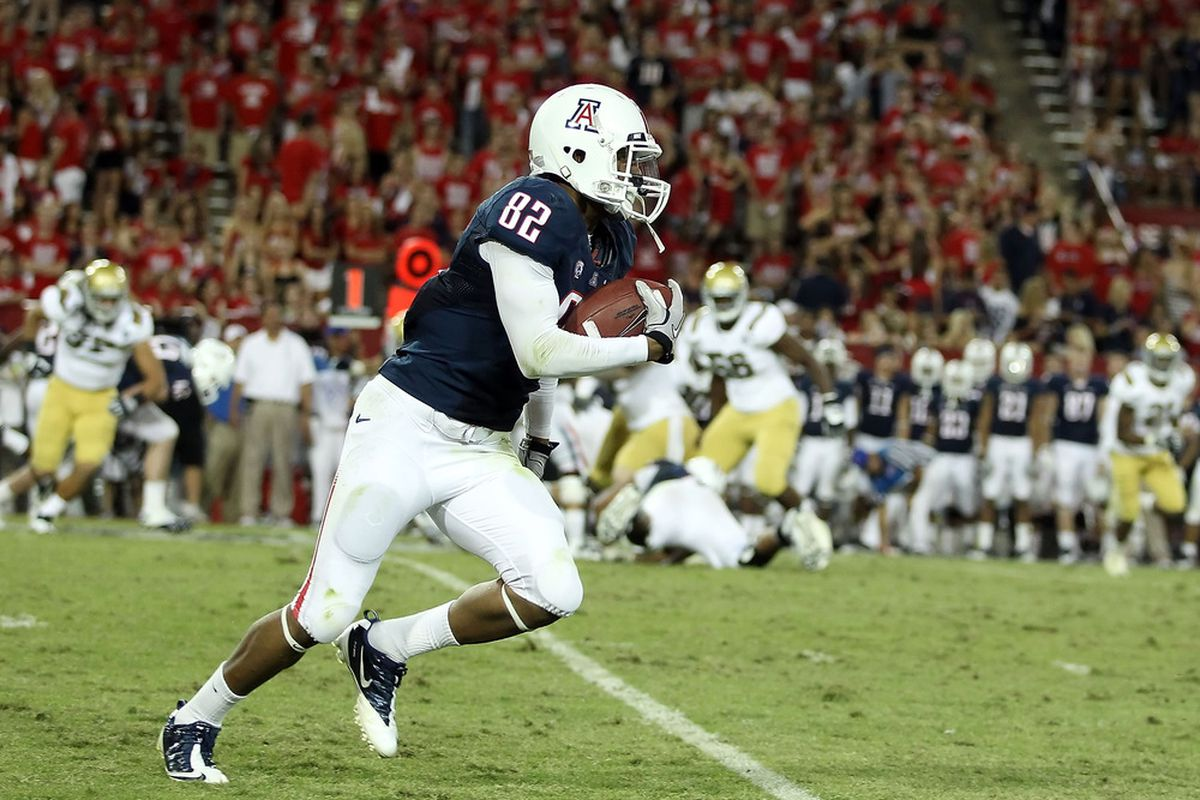 Wide receiver Juron Criner of the Arizona Wildcats will be Nick Folks key target on Saturday night against the Huskies. (Photo by Christian Petersen/Getty Images)