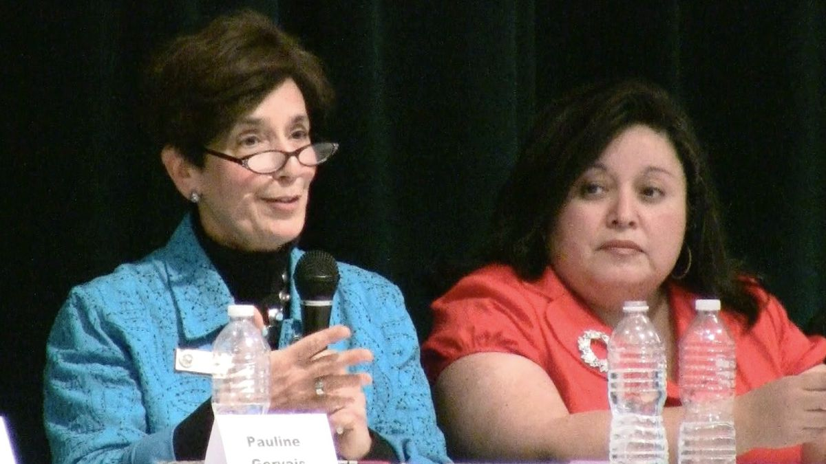DPS board members Jeanne Kaplan, left, and Andrea Merida respond to MOP's proposals for reform.