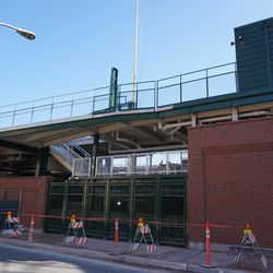 The new extension between the bleachers and the grandstand, along Waveland Avenue