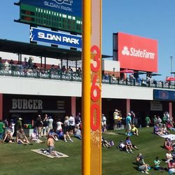 Distance marker on the left-field foul pole -