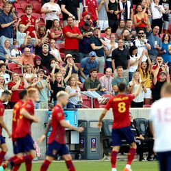Fans cheer after Real Salt Lake midfielder Damir Kreilach (8) scored an early goal as Real Salt Lake and Vancouver FC play at Rio Tinto Stadium in Sandy on Wednesday, July 7, 2021.