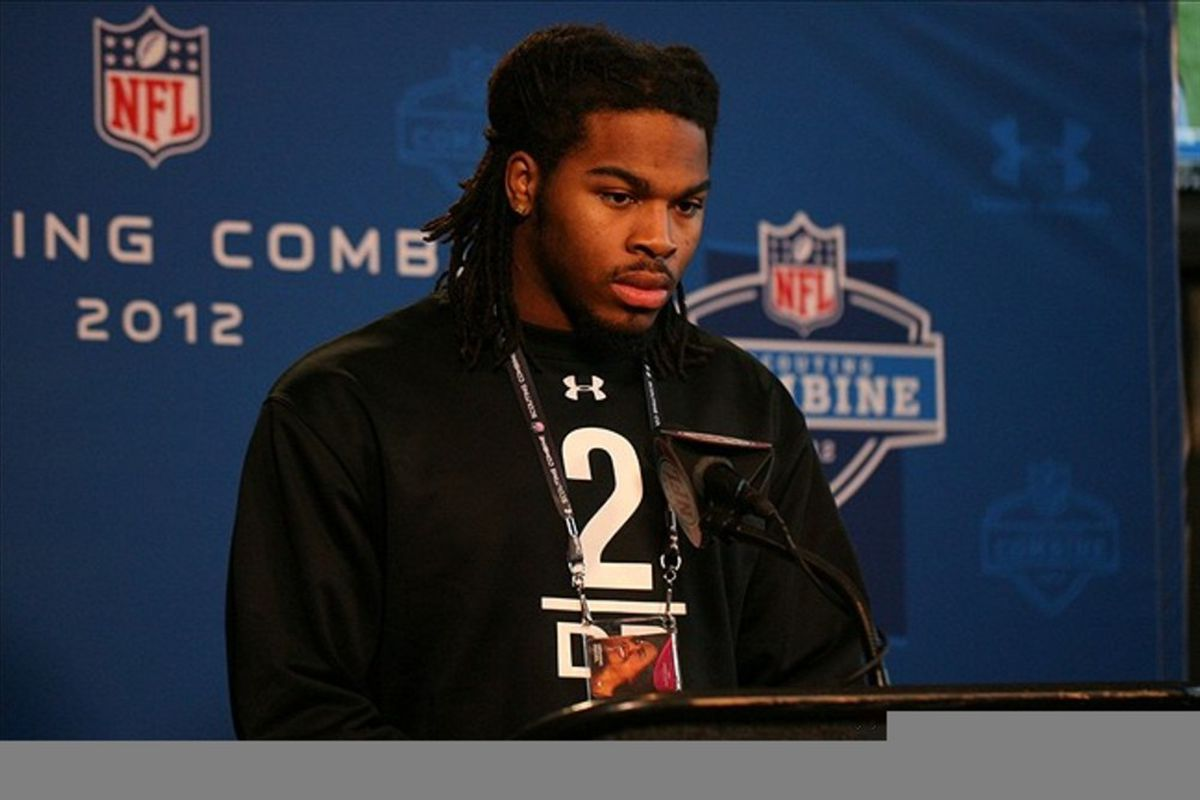 Feb 26, 2012; Indianapolis, IN, USA; Alabama Crimson Tide defensive back Mark Barron speaks at a press conference during the NFL Combine at Lucas Oil Stadium. Mandatory Credit: Brian Spurlock-US PRESSWIRE