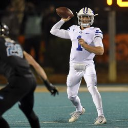 BYU quarterback Zach Wilson drops back to pass during the first half of an NCAA college football game against Coastal Carolina, Saturday, Dec. 5, 2020, in Conway, S.C.