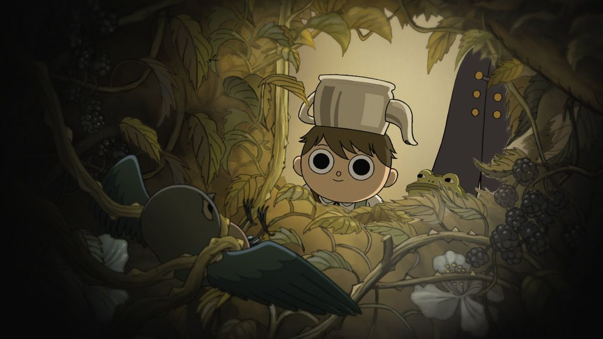Greg in Over the Garden Wall peers into the inside of a dark bush where a bird is trapped