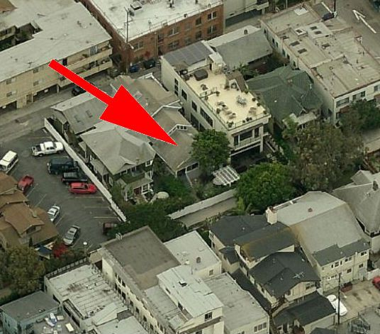 An aerial view of houses and street in Venice, California.