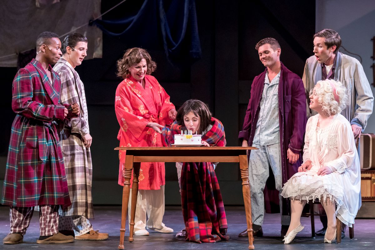 """Mary Robin Roth (standing, center) plays Rose, and Lexis Danca (with birthday cake) plays Gypsy Rose Lee, with the ensemble of Music Theater Works' cast for """"Gypsy."""" (Photo: Brett Beiner)"""