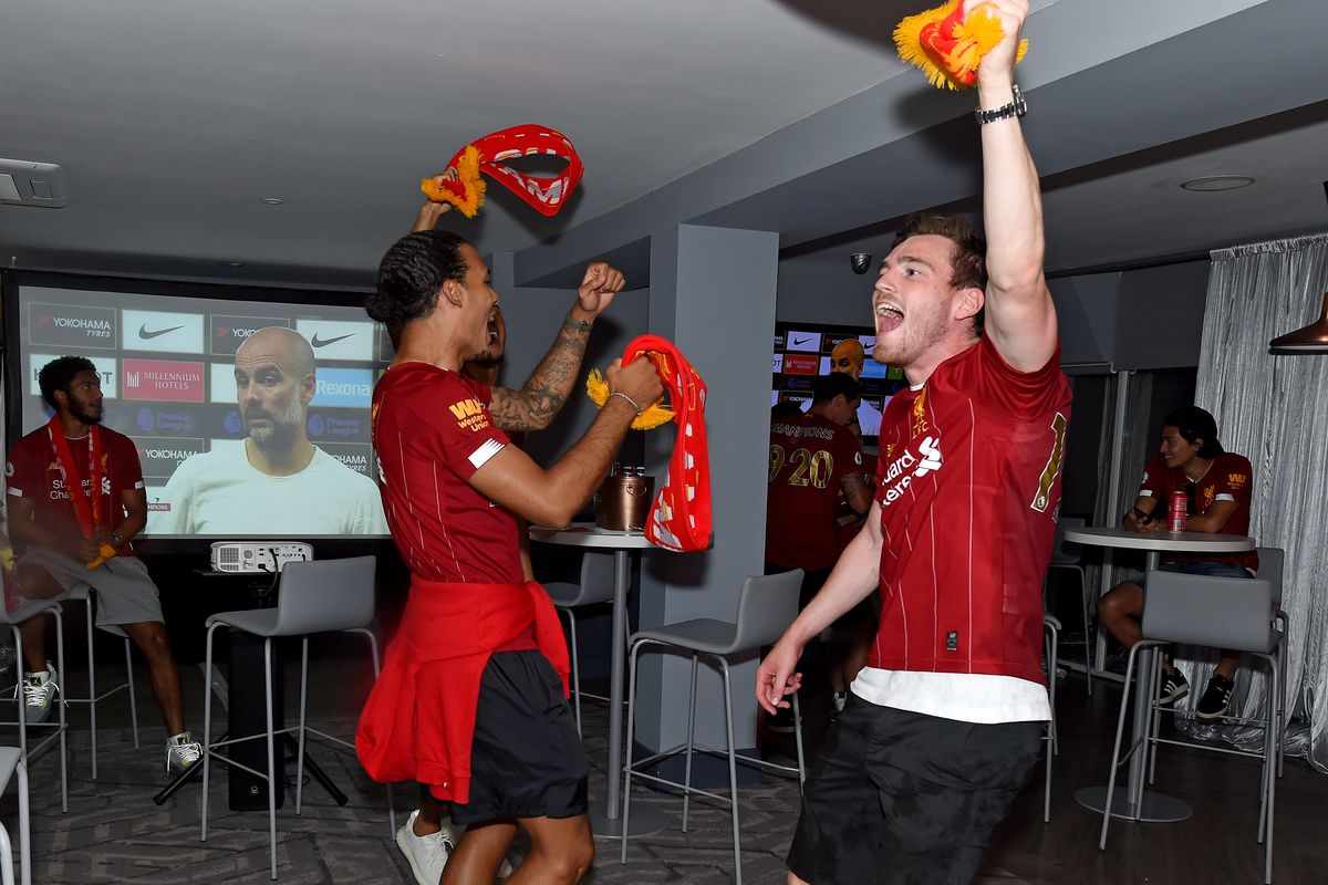 Liverpool Players Celebrate Winning the Premier League