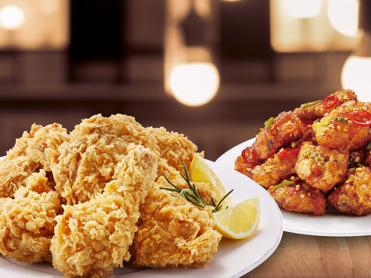 Two styles of fried chicken
