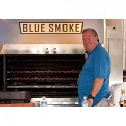 """Kenny Callaghan withe the Blue Smoke smoker (<a href=""""http://guestofaguest.com/galleries/2009/6/snapple-big-apple-barbecue-block-party/61590/"""" rel=""""nofollow"""">Guest of a Guest</a>)."""