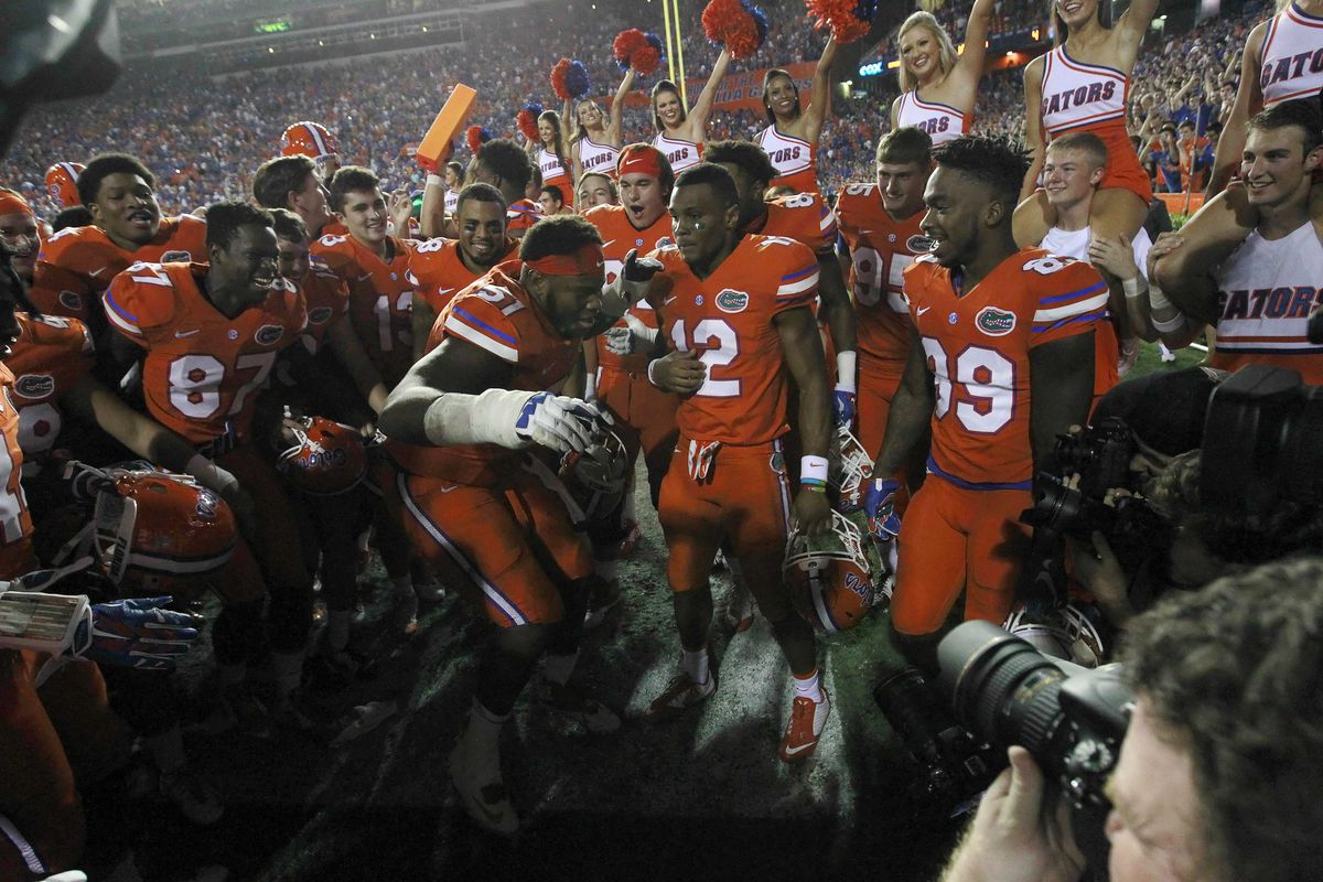 Gators getting down after the win at home.
