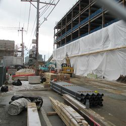 Waveland, looking east.  Shrouding is now at the second level of the plaza building -