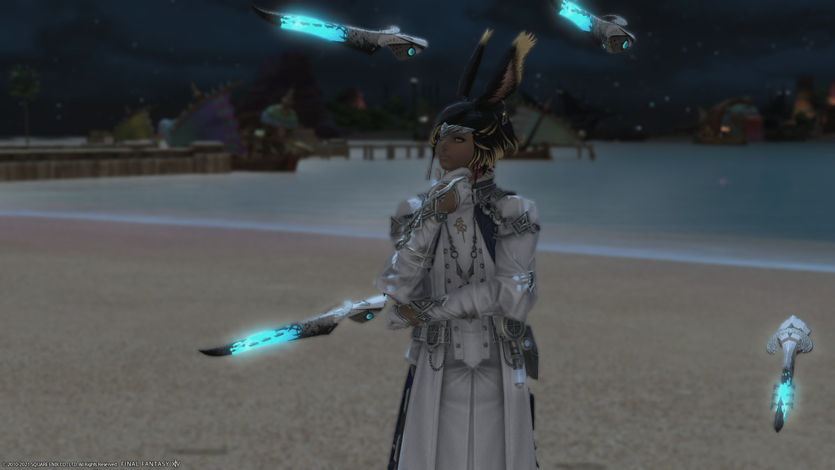 A male Viera in Sage artifact gear stands on a beanch