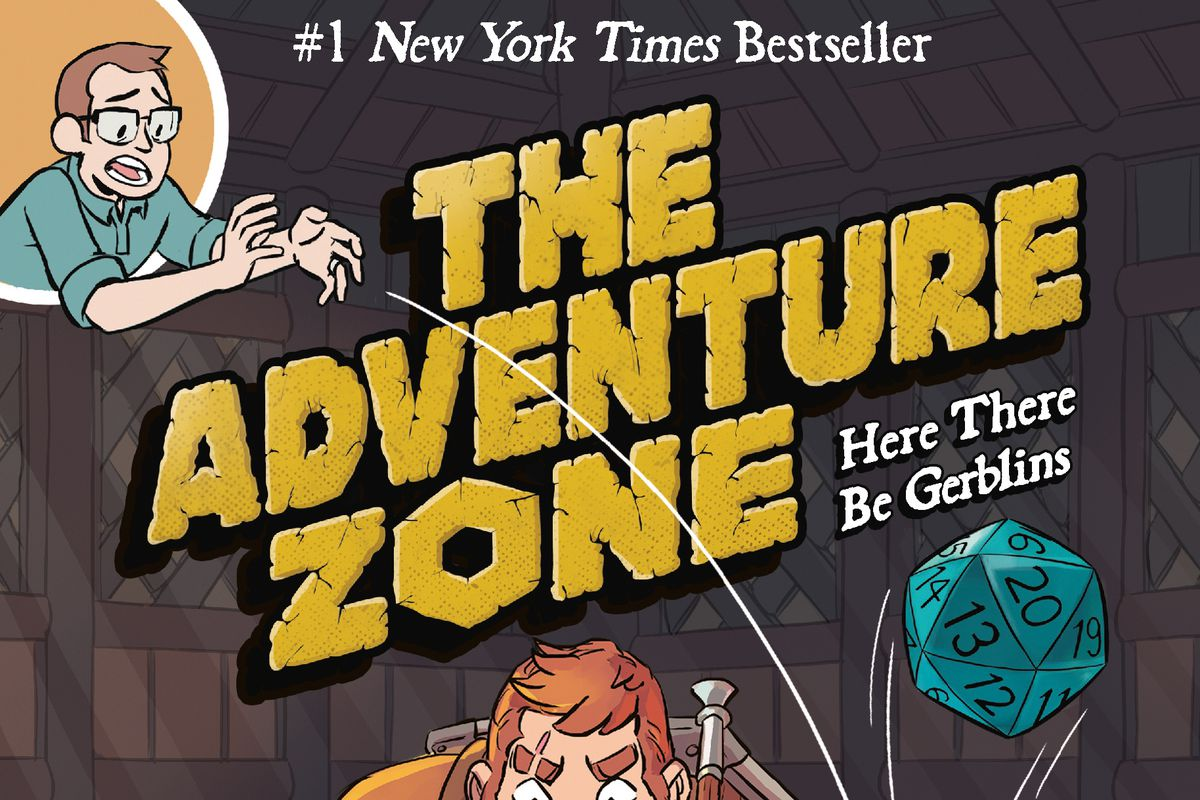 The cover for The Adventure Zone: Here There Be Gerblins. Taako, Magnus, and Merle are sitting around a table. There's a map spread out with gold coins piled up on the edges. Magnus has his ax stabbed into the map and Merle is holding a tankard of ale. Griffin is in the top left corner dropping a d20, which bounces off Merle's head. Listed at the bottom are the names of the authors and the illustrator: Clint McElroy, Griffin McElroy, Justin McElroy, Travis McElroy, and Carey Pietsch.