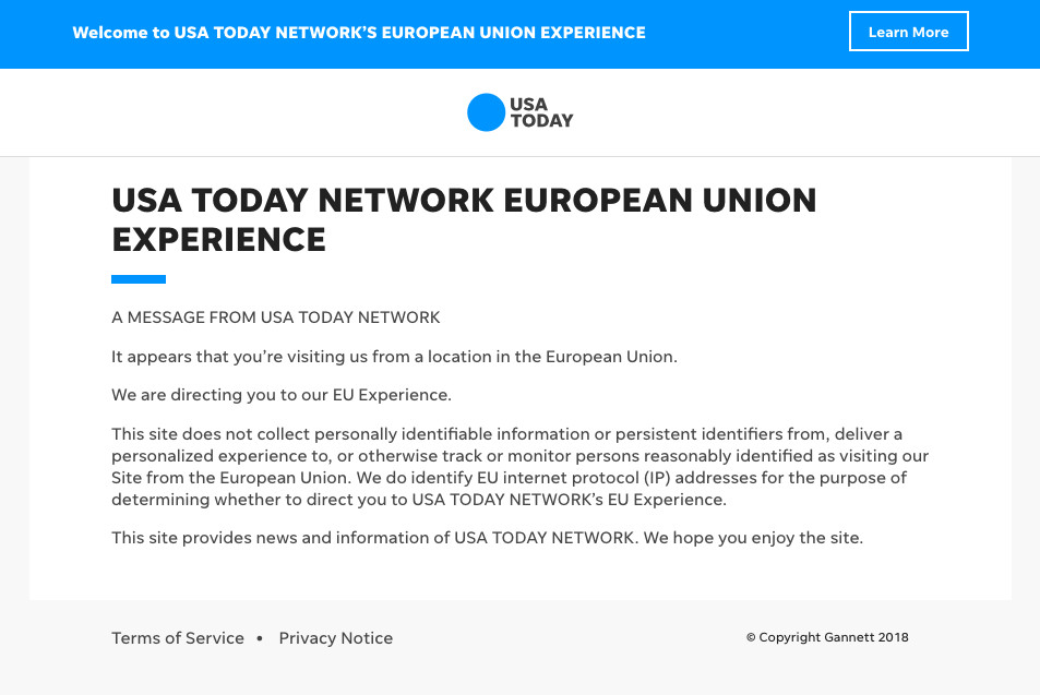 Major US news websites are going down in Europe as GDPR goes