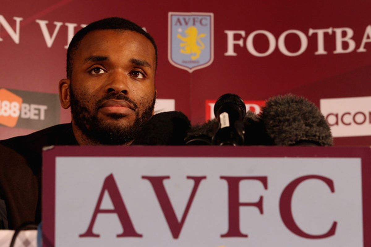 BIRMINGHAM ENGLAND - JANUARY 18:  Darren Bent speaks to the media during a press conference to announce him signing for Aston Villa at Villa Park on January 18 2011 in Birmingham England.  (Photo by Scott Heavey/Getty Images)