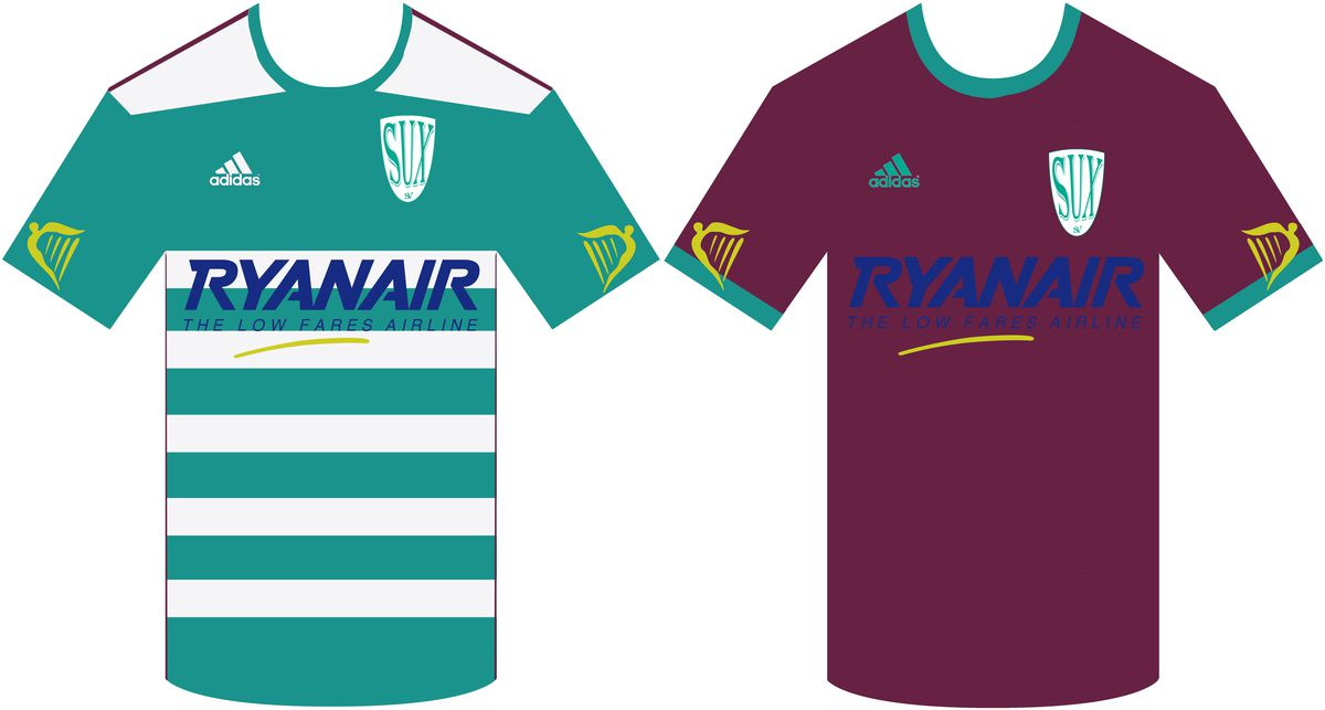 The home and away jerseys of SV Suxdorf from the Computer Generated Bundesliga.