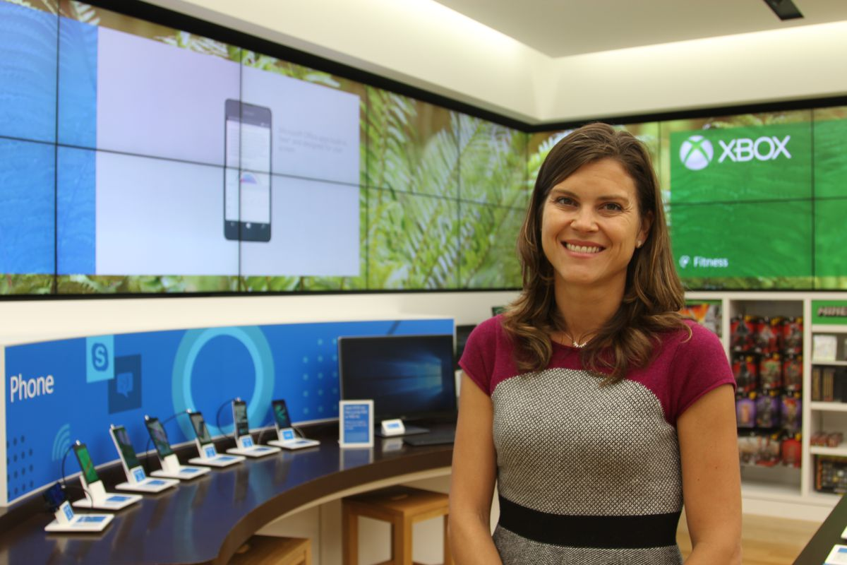 Microsoft general manager Kelly Soligon speaking at the company's store in San Francisco.