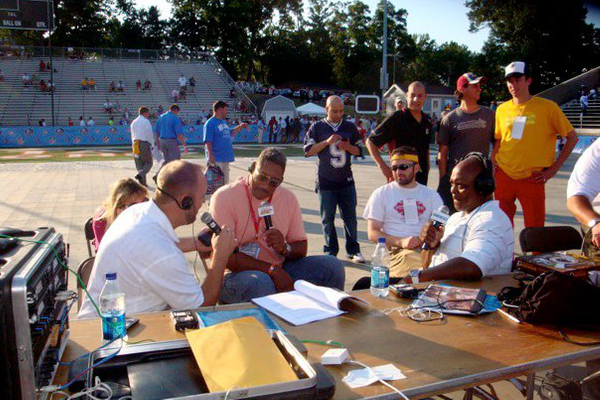 BMitch and Chris Johnson (106.7 THE FAN) interview George Starke just before Ken, Mike Richman, and I do (Ken and I pictured in background).