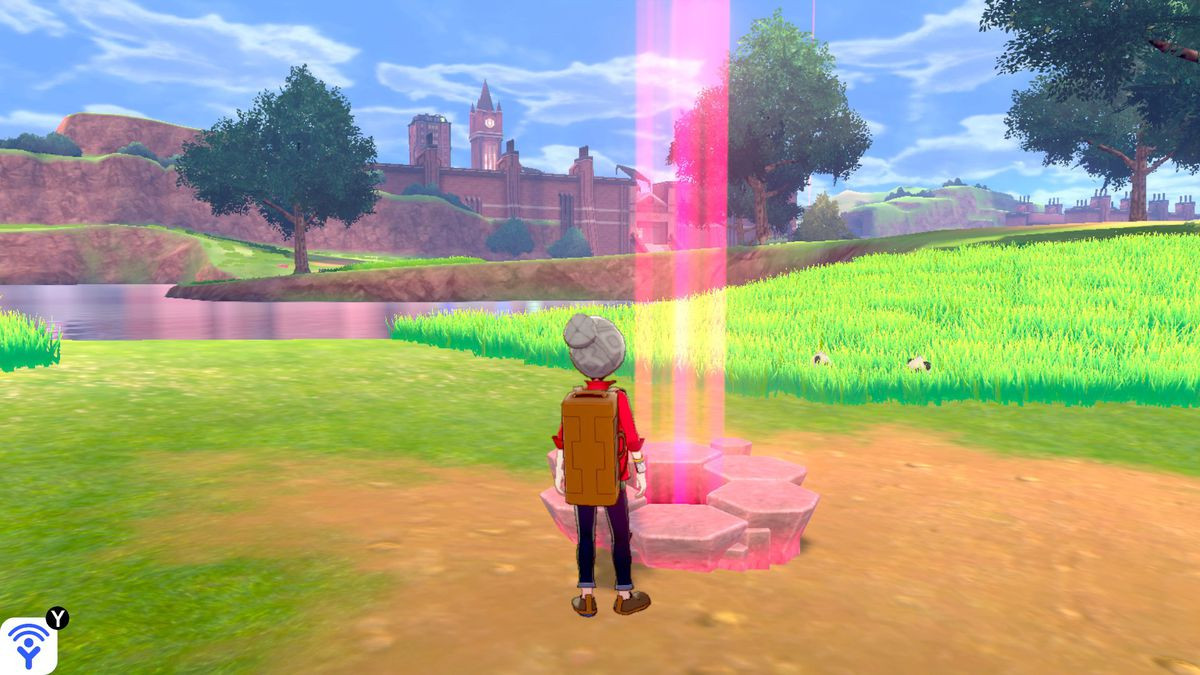 A Pokemon trainer looking at a Pokemon den